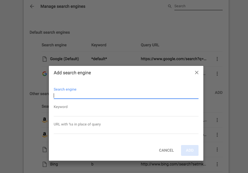Add Custom Search Engines To Google Chrome