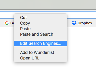 Google Chrome Edit Search Engines