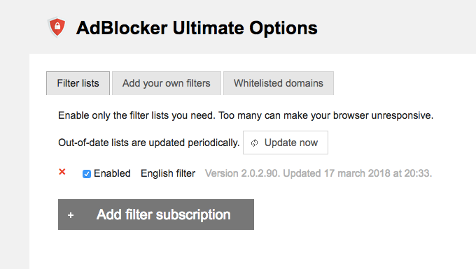 AdBlocker Ultimate Options