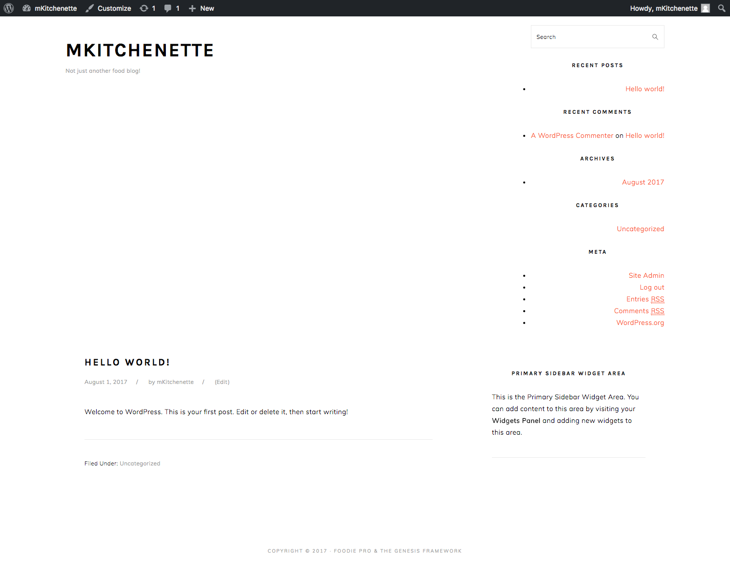 mKitchenette Preview (Before Importing Demo Content)