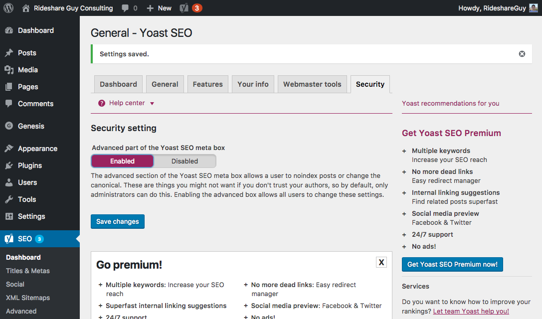 Yoast SEO Dashboard – Security