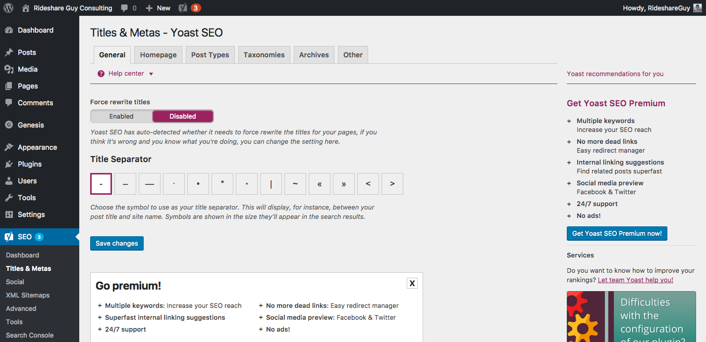 Yoast SEO Titles & Metas – General